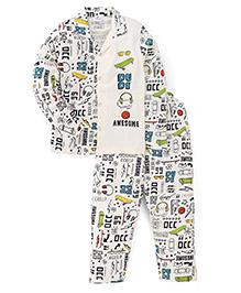 Ollypop Full Sleeves Printed Night Suit - Off White