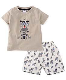 Ollypop Half Sleeves T-Shirt And Shorts Set Tiger On Bike Print - Beige