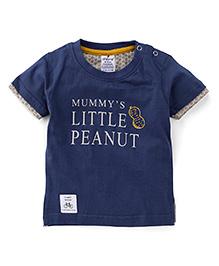 Ollypop Half Sleeves T-Shirt Little Peanut Print - Blue