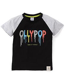Ollypop Half Sleeves Printed T-Shirt - Black