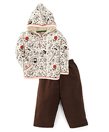 Ollypop Hooded T-Shirt And Pant Set Tattoo Print - Cream And Brown