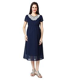 Nine Short Sleeves Maternity Dress - Navy Blue
