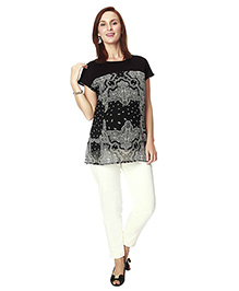 Nine Maternity Short Sleeves Paisely Print Maternity Blouse - Black
