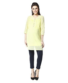 Nine Three Fourth Sleeves Maternity Tunic Top - Yellow