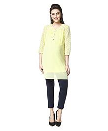 Nine Three Fourth Sleeves Maternity Tunic Top - Yellow