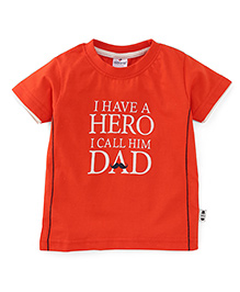 Ollypop Half Sleeves T-Shirt I Have A Hero Print - Orange