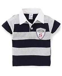 Ollypop Polo T-Shirt Soccer Junior Club Badge - Navy & Grey