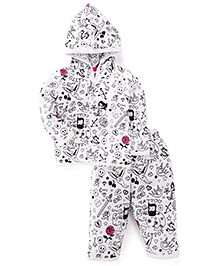 Ollypop Hooded T-Shirt And Legging Multiprint - White