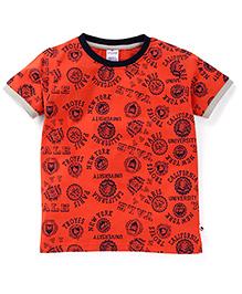 Ollypop Half Sleeves T-Shirt Multi Print - Orange