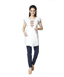 Nine Short Sleeves Embroidered Maternity Tunic - White