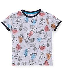 Ollypop Half Sleeves T-Shirt Multi Print - White
