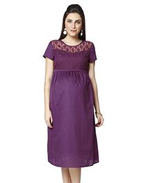 Nine Short Sleeves Maternity Dress - Purple