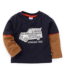Ollypop Full Sleeves T-Shirt Car Print - Black Brown
