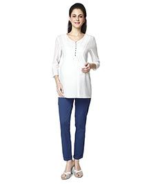 Nine Long Sleeves Maternity Tunic - White