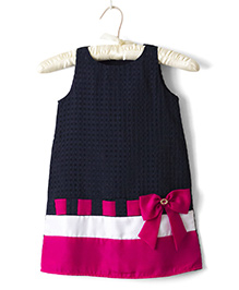 Nitallys A-Line Dress - Navy Blue And Pink