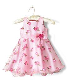 Nitallys Floral Applique Party Wear Dress - Pink
