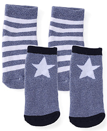 Fox Baby Ankle Length Socks Star And Stripe Design Pair of 2 - Grey