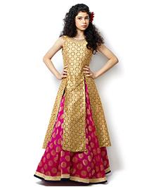 Peek-a-boo Brocade Lehenga Choli - Rani & Gold