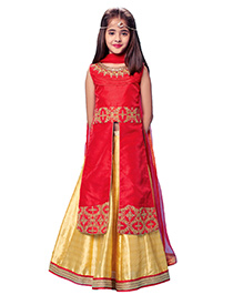 Peek-a-boo Long Top & Lehenga Set - Red & Yellow