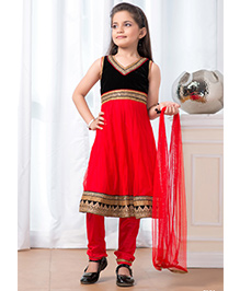 Peek-a-boo Trendy Salwar Suit - Red & Black