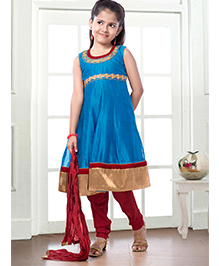 Peek-a-boo Trendy Salwar Suit - Sky Blue & red