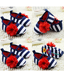 Supply Station Slip On Stripe Booties Flower Applique - Blue White