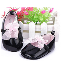 Supply Station Booties Bow Appliques - Pink Black