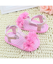 Supply Station Sandals Style Booties Flower Appliques - White Pink