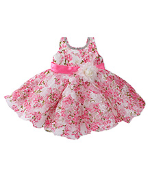 Bluebell Sleeveless Floral Print Ruffled Party Wear Frock - Pink