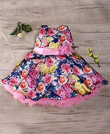 Bluebell Sleeveless Party Wear Frock Floral Applique - Pink And Blue