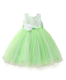 Bluebell Sleeveless Frock Floral Motif And Sequined Bodice - Green