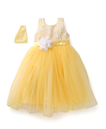 Bluebell Sleeveless Frock Floral Motif And Sequined Bodice - Lemon Yellow
