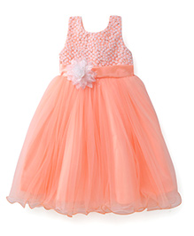 Bluebell Sleeveless Frock Floral Motif And Sequined Bodice - Peach