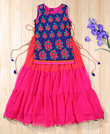 Twisha Traditional Embroidered Jacket And Gown - Hot Pink