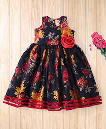 Twisha Trendy Floral Printed Dress With Corsage - Black