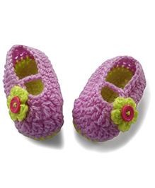Dollops Of Sunshine Slip On Booties With Flower Applique - Lavender Green