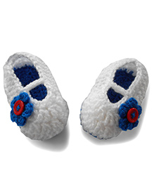 Dollops Of Sunshine Slip On Booties With Flower Applique - White Royal Blue