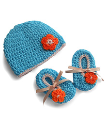 Dollops Of Sunshine Bambino Hat And Booties Set - Ice Blue