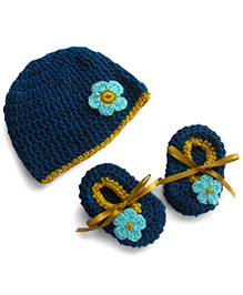 Dollops Of Sunshine Bambino Hat And Booties Set - Navy Blue