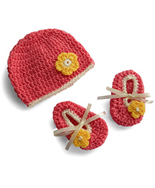 Dollops Of Sunshine Bambino Hat And Booties Set - Peach