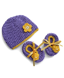 Dollops Of Sunshine Bambino Hat And Booties Set - Purple