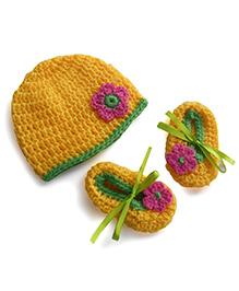 Dollops Of Sunshine Bambino Hat And Booties Set - Yellow