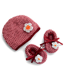 Dollops Of Sunshine Bambino Hat And Booties Set - Rose Pink