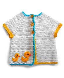 Dollops Of Sunshine Ducklings Day Out Sweater - White