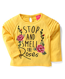 Button Noses Full Sleeves Printed T-Shirt - Yellow