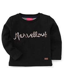 Button Noses Full Sleeves Printed Top - Black