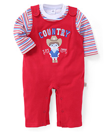ToffyHouse Country Stitched Full Sleeves Romper With Inner Tee - Red