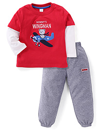 ToffyHouse Full Sleeves Suit With Mommy's Wingman Embroidered - Red & Grey