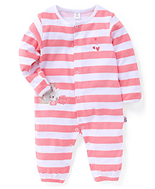 ToffyHouse Full Sleeves Striped Sleep Suit With Bunny Patch - Peach & White