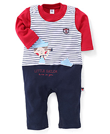 ToffyHouse Full Sleeves Little Sailor Printed Romper With Inner Tee - Red & Navy